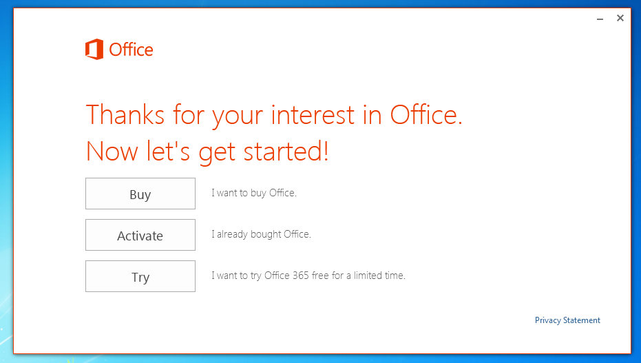 Office 2013 OEM install options